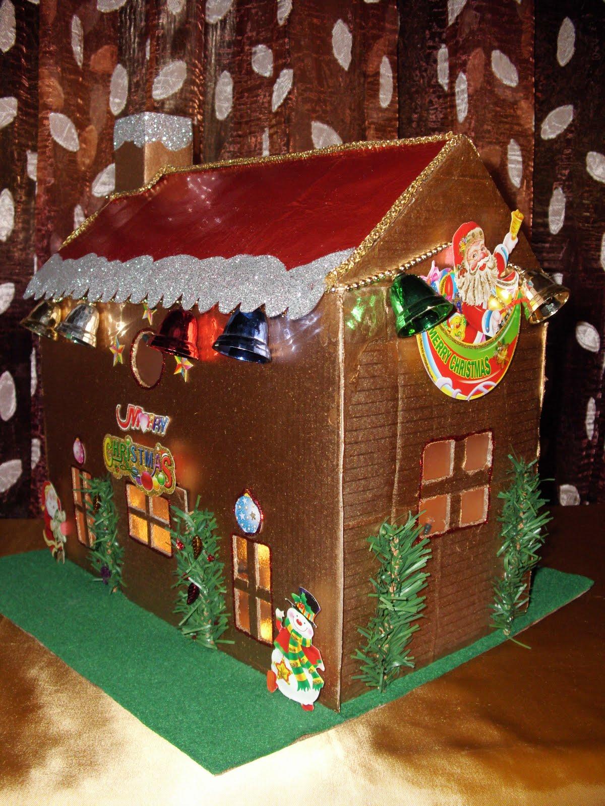 Χριστουγεννιάτικο σπιτάκι από κουτί παπουτσιών, εύκολη κατασκευή