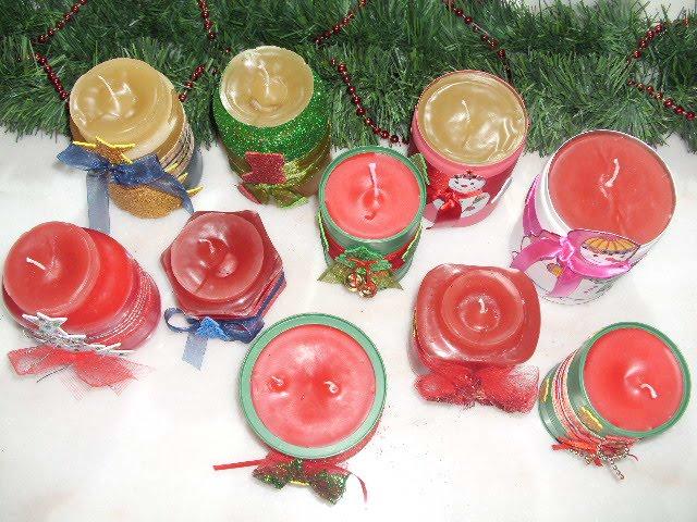 Diy χριστουγεννιάτικα κεριά σε βάζα.