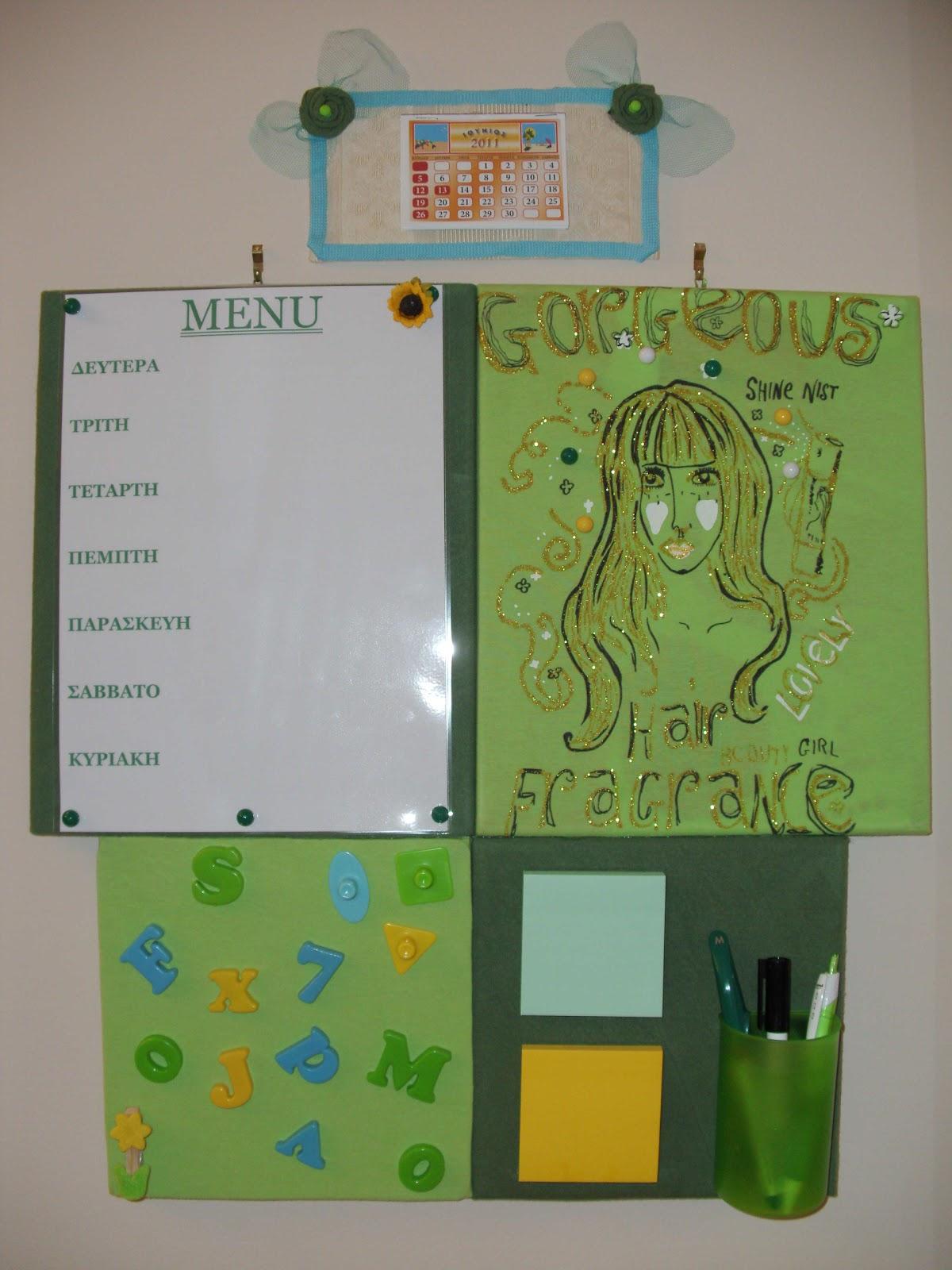 Πίνακας σημειώσεων και οργάνωσης για την κουζίνα