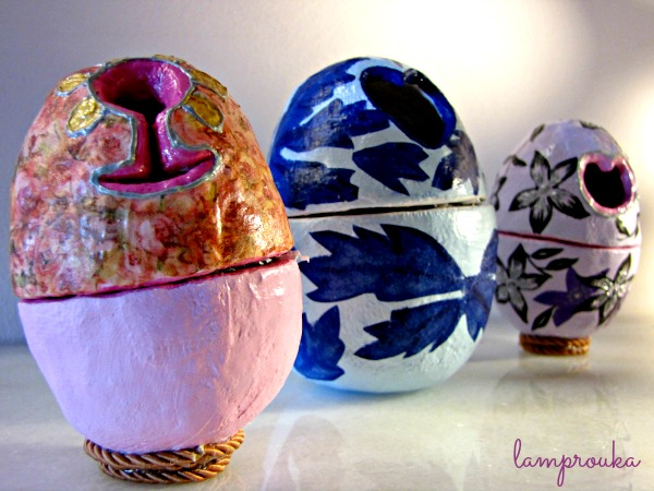 Αυγά από γυψογάζα και διακόσμηση με ντεκουπάζ