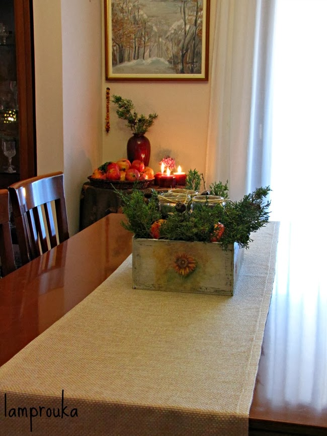 Ιδέες για φθινοπωρινή διακόσμηση μέσα σε κουτί για τραπέζι.