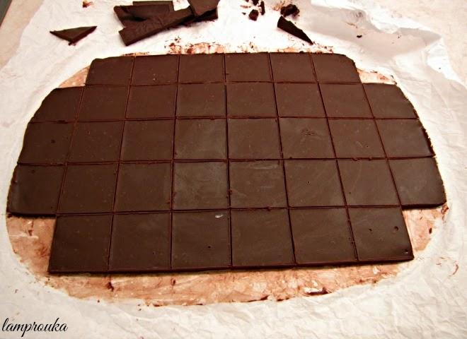 Τετράγωνα σοκολάτας για την διακόσμηση της τούρτας
