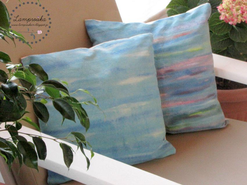 Ζωγραφική σε μαξιλάρια με ακρυλικά χρώματα