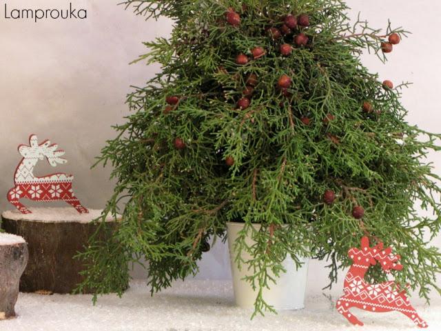 Διακόσμηση χριστουγέννων με δεντράκια.