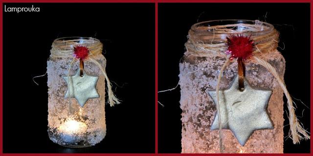 Φαναράκια από βάζα για τα Χριστούγεννα.