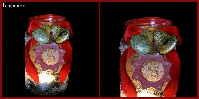 Χριστουγεννιάτικα φαναράκια από βάζα για bazaar.