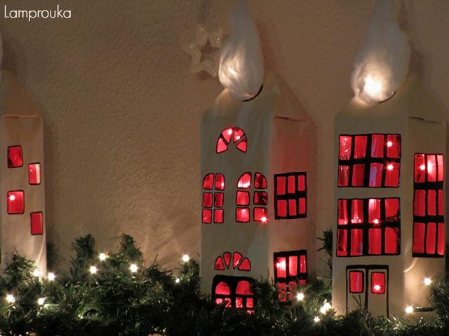 Χριστουγεννιάτικα σπιτάκια με φωτισμό.