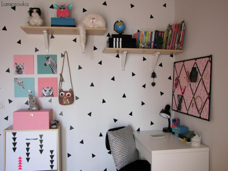 Τριγωνάκια στους τοίχους του παιδικού δωματίου