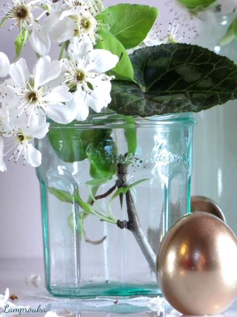 Βάψιμο γυαλιού με κόλλα και χρώμα.