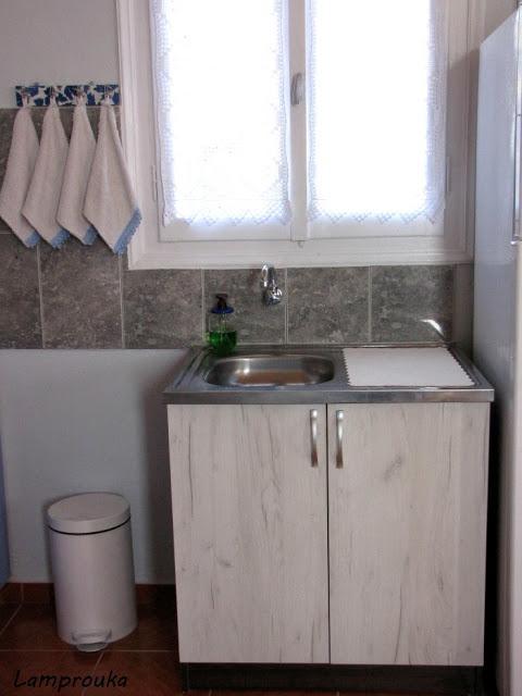 Ανακαίνιση εξοχικού-κουζίνα και νεροχύτης.