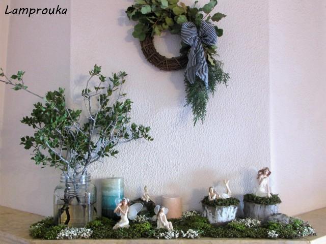 Χειμωνιάτικη διακόσμηση τζακιού με υλικά της φύσης