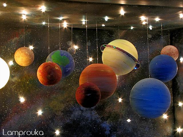 Κατασκευή τρισδιάστατου ηλιακού συστήματος με αστέρια και πλανήτες.