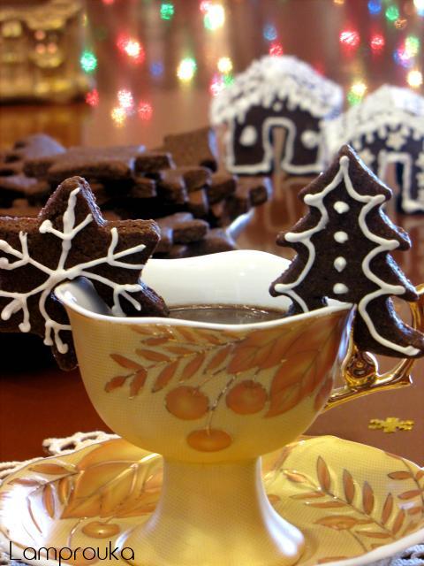 Μπισκότα σοκολάτας χριστουγεννιάτικα.