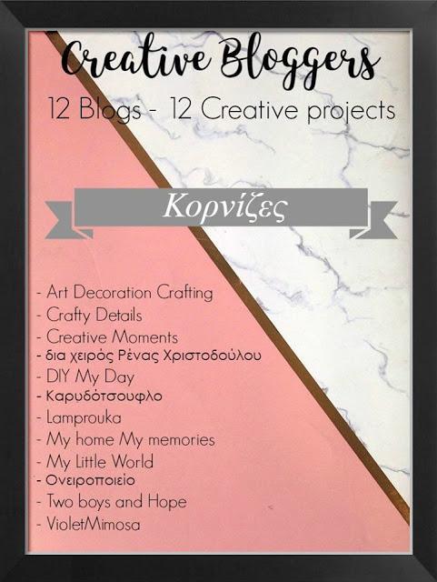 Creative bloggers με θέμα τις κορνίζες.