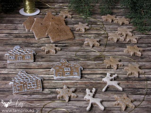 Ζύμη αλατιού για αρωματικά χριστουγεννιάτικα στολίδια με κανέλα.