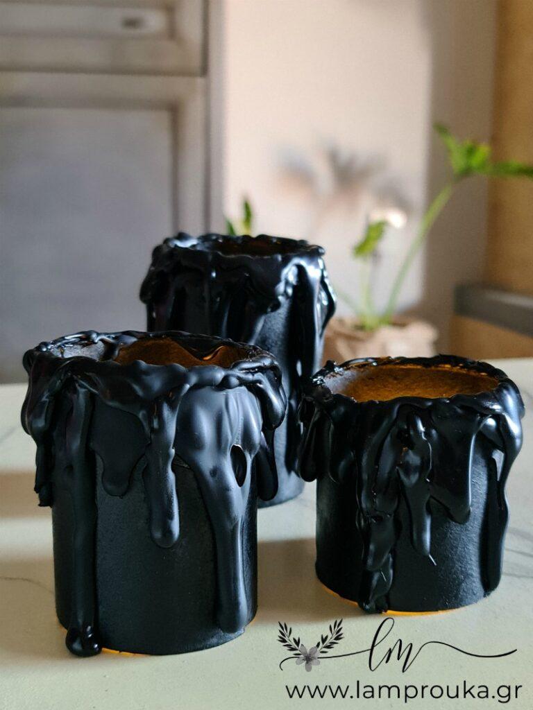 Κατασκευή για το Halloween ψεύτικα κεριά από χάρτινα ρολά.