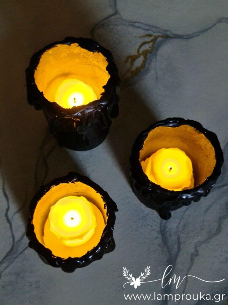Ψεύτικα μαύρα κεριά για το Halloween.