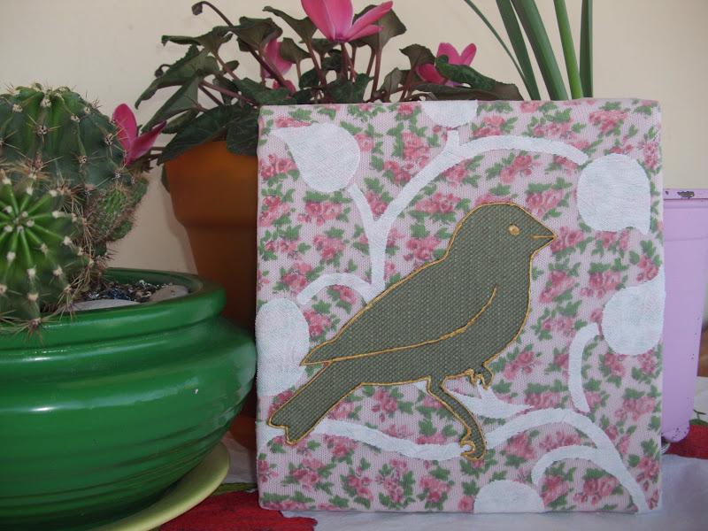 Καδράκια με πουλάκια και υφασμάτινα λουλούδια