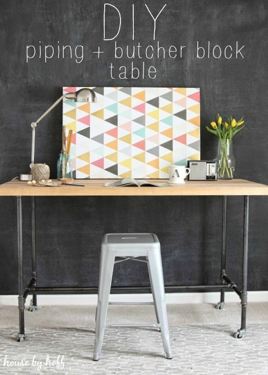 Diy τραπέζι-γραφείο με σιδερένιους σωλήνες