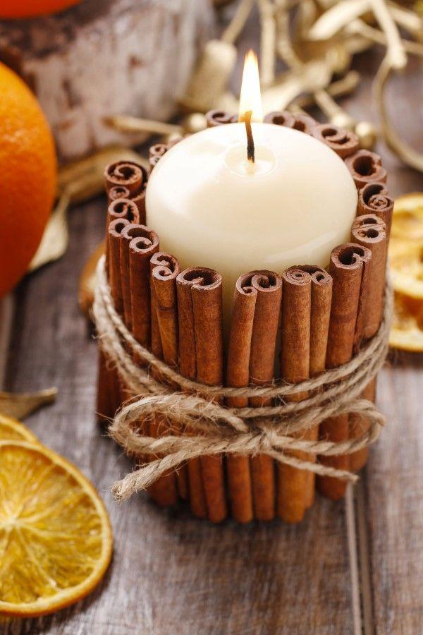 Φθινοπωρινά DIY κεριά με ξυλάκια κανέλας